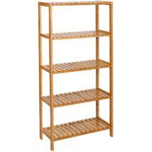 Bambusz fürdőszobai tároló, tároló polcok, 5 szintes, 130 x 60 x 26 cm