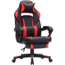 Ergonómikus Gamer széklábtartóval, 150 kg-ig terhelhető, fekete-piros