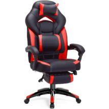 SONGMICS gamer szék, irodai szék lábtartóval, íróasztal szék, ergonomikus kialakítás, állítható fejtámla, deréktámasz, 150 kg-ig terhelhető, fekete-piros, OBG77BR