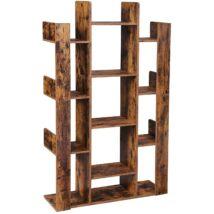 Könyvespolc, fa alakú könyvespolc 13 tároló polccal, 86 x 25 x 140 cm