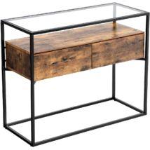 Konzolasztal ipari kivitelben, stabil konzolos üvegasztal 2 fiókkal, 100 x 40 x 80 cm