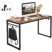 Számítógép asztal, Íróasztal, Irodai íróasztal 8 kampóval, 140 x 60 x 75 cm