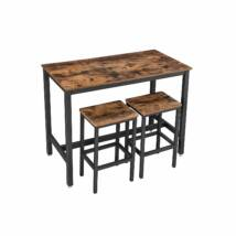 Rusztikus magas asztal 2 bárszékkel 120 x 60 x 90 cm
