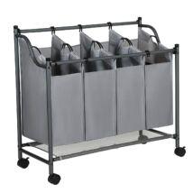 Szennyeskosár görgőkkel, 4 kivehető táskával, mosodai kocsi, stabil, 4 x 35L