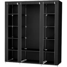 Szövet ruhásszekrény, ruhatároló, mobil gardrób, 12 polcos, függő sínnel 175 x 150 x 45 cm, fekete