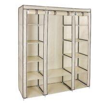 Szövet ruhásszekrény, ruhatároló, mobil gardrób, függő sínnel, 175 x 150 x 45 cm, bézs