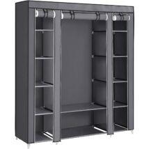 Szövet ruhásszekrény, mobil gardrób, 150 x 45 x 175 cm, szürke