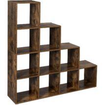 lépcsős polc, 10 kockás tároló, fa vitrin, szabadon álló polc