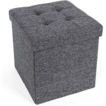 SONGMICS pad, ülés tárolóval, összecsukható kocka, lábtartó vászon 38 x 38 x 38 cm sötétszürke LSF27Z