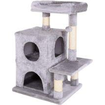 Macskafa - Kaparóoszlop Macskáknak Világos Szürke(Magasság 80 Cm) + Ajándék Macska Kaparó Karton