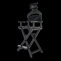 Összecsukható smink szék fejtámlával fekete színben
