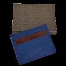 Valódi bőr Kétoldalas Kártyatartó díszdobozban OP-8270B BLUE
