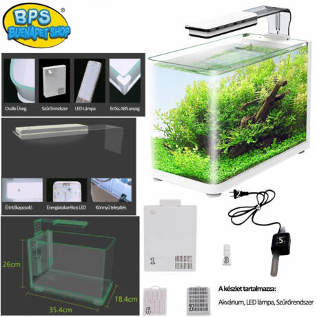 BPS-6225 Akvárium Szett Ovális Üveggel 40,4x18,4x26 cm / 18L