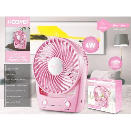 Hordozható Mini Ventilátor Pink (újratölthető)