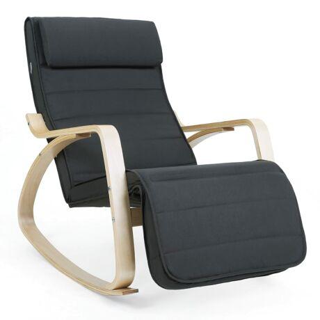 SONGMICS hintaszék, relaxációs szék, 5 fokban állítható lábtartó, váz masszív nyírfából, 150 kg-ig terhelhető, szürke LYY10G