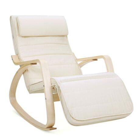 SONGMICS hintaszék, relaxációs szék, 5 fokban állítható lábtartó, váz masszív nyírfából, 150 kg-ig terhelhető, bézs LYY10M