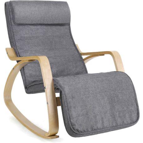 SONGMICS hintaszék, relaxációs szék, 5 fokban állítható lábtartó, váz masszív nyírfából, 150 kg-ig terhelhető, Világos szürke