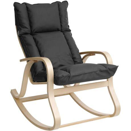 SONGMICS LYY31GY hintaszék nyírfából, relaxációs szék ülőpárnával, nappali, erkély, műbőr huzat, könnyű összeszerelés, szürke