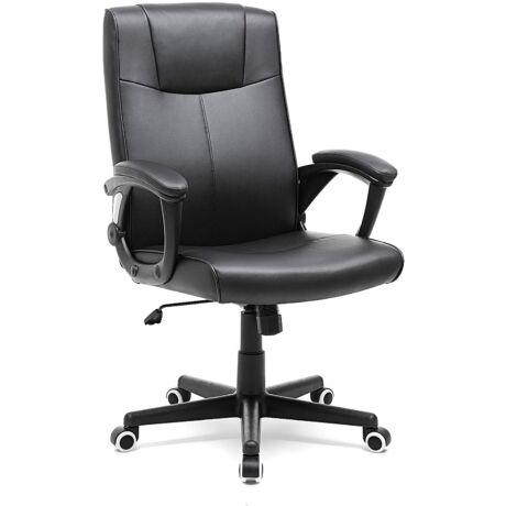 SONGMICS irodai szék PU-ból, zárbiztos, állítható magasságú forgószék ergonómikus kivitelben, fekete, OBG32B