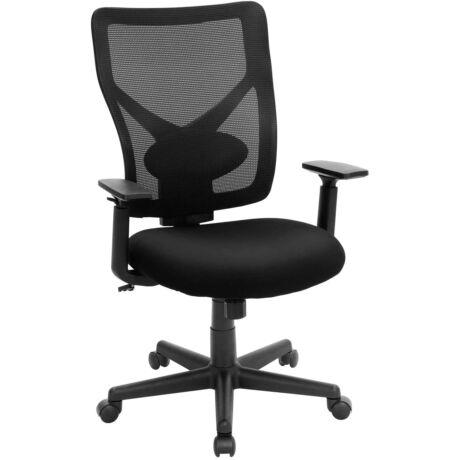 SONGMICS OBN36BK Ergonomikus irodaszék, deréktámasz, forgatható számítógép asztali szék, állítható kartámasz, beállítható magasság, hátul hálós, fekete