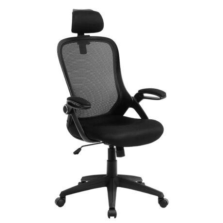 SONGMICS irodai szék, ergonomikus forgószék, összehajtható, habos kartámasszal és állítható fejtámlával, fekete OBN51BK