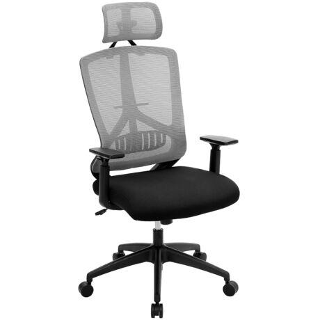SONGMICS irodai szék dönthető mechanizmussal, állítható magasságú kartámaszokkal, ergonomikus forgószék deréktámasszal, állítható fejtámlával, teherbírás 120 kg, OBN53BG