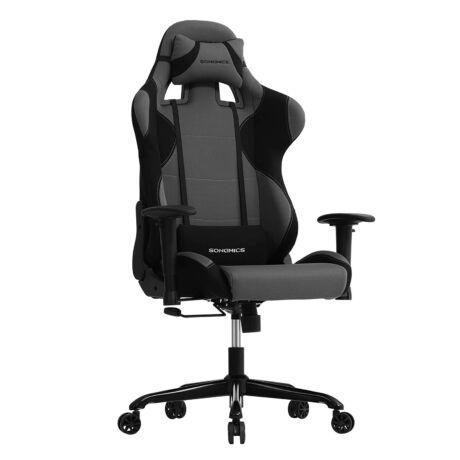 SONGMICS irodai szék, gamer szék magas háttámlával, formált hab, párnázott ülés, állítható párnákkal és ágyéki párnákkal, szociális vagy irodai munkához fekete-szürke RCG02G