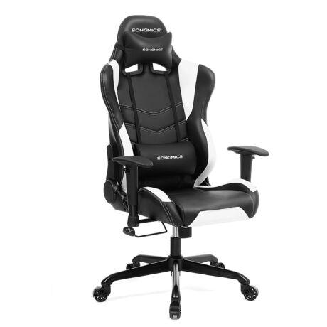 SONGMICS irodai szék, gamer szék magas háttámlával, formált hab, párnázott ülés, állítható párnákkal és ágyéki párnákkal, otthoni vagy irodai munkához (fekete-fehér) RCG12W