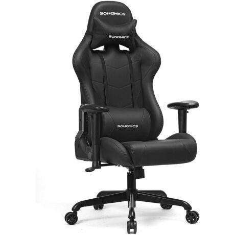 SONGMICS irodai szék, gamer szék, ergonomikus állítható karfákkal, párna, ágyéki párna 66 x 72 x 124-132 cm szürke-fekete RCG13G