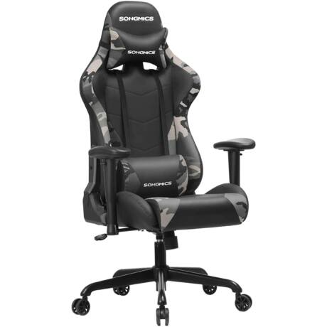 SONGMICS gamer szék 150 kg, irodai szék, asztali szék ágyéki párnával, acél váz, magas háttámla és széles ülés, állítható magasság, ergonomikus, szintetikus bőr, camouflage RCG42GY