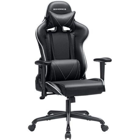 SONGMICS gamer szék, irodai szék magas háttámlával, számítógépes szék, versenyszék, párnázott ülés, fejtámla és deréktámasz állítható, irodához, dolgozószoba, fekete RCG47BK