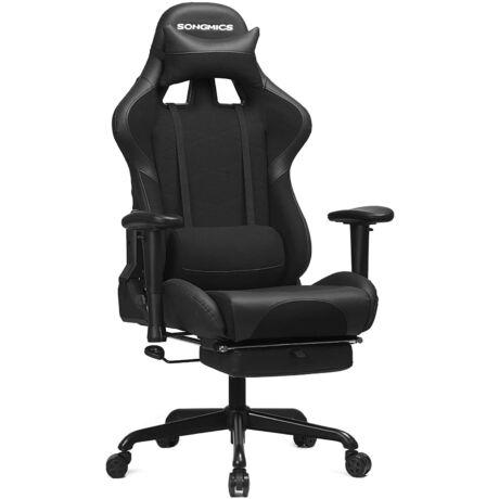 SONGMICS gamer szék lábtartóval, 150 kg, irodai szék, íróasztali szék, ágyéki párna, párna, magas háttámla, ergonomikus, acél, szintetikus bőr, lélegző hálós szövet, fekete RCG52BK