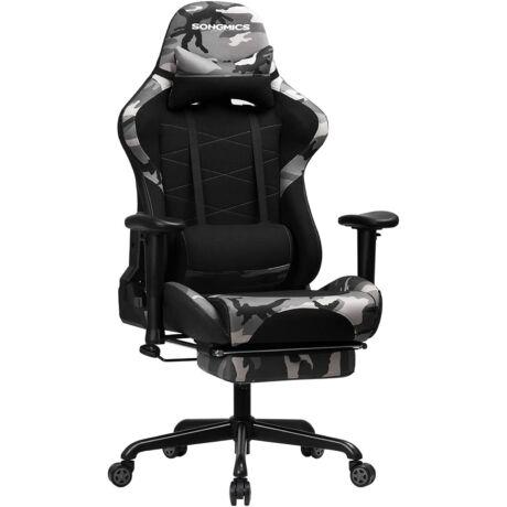 SONGMICS gamer szék, állítható magasságú versenyszék, íróasztali szék fejtámlával és deréktámasszal, 2D kartámaszok, dönthető mechanizmus, 135 fokos hátradőlésszög, műbőr, RCG52GYV1