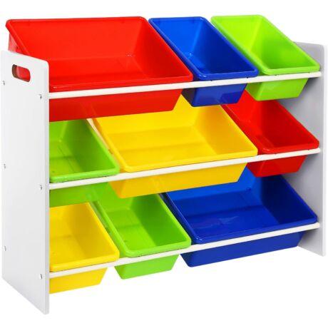 3 szintes játéktároló 9 műanyag dobozokkal