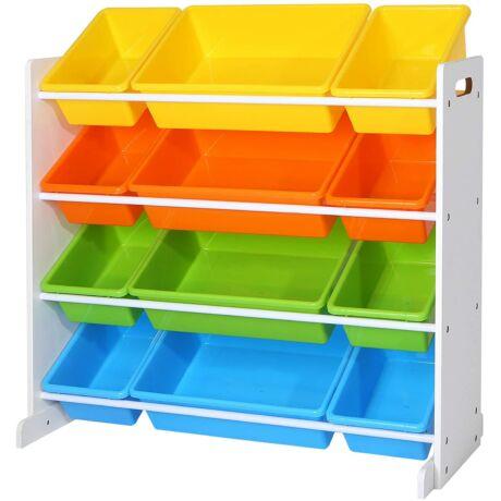 Gyermek játék tároló egység Játszószoba állványegység 4 színű, kivehető tárolódobozzal