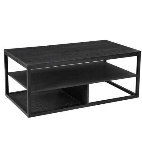 Modern dohányzóasztal, Fekete, 110 x 60 x 55 cm