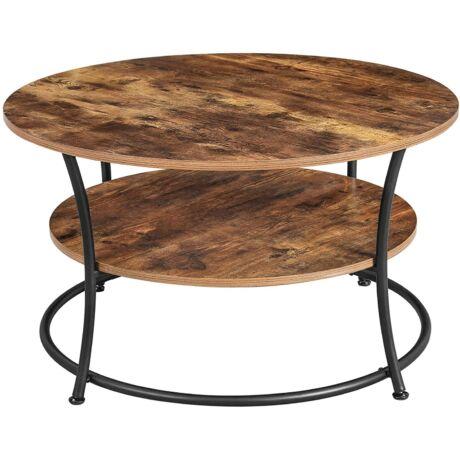 dohányzóasztal, kerek koktélasztal polccal, teaasztal
