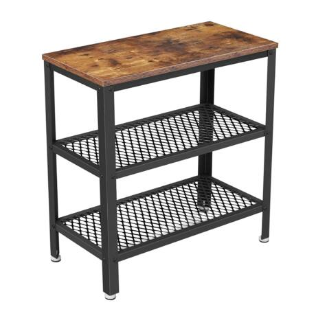 Oldalasztal, éjjeliszekrény, dekoratív asztal 2 hálós polccal 60 x 30 x 60 cm