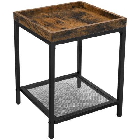 Oldalasztal, éjjeliszekrény, kis dohányzóasztal rácsos polccal 40x40x55 cm