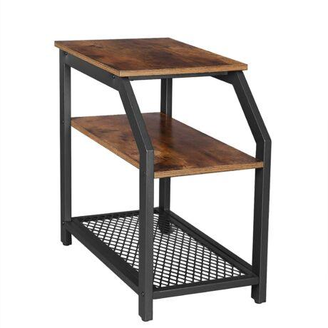 Rusztikus stílusú oldalasztal, végasztal polcokkal és fém hálós polccal
