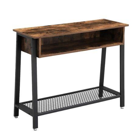 Konzolasztal hálós polccal és nyitott rekessze 100 x 35 x 80 cm