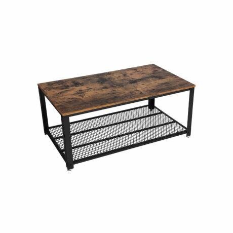 Rusztikus / Ipari stílusú dohányzóasztal rácsos polccal 106,2 x 45 x 60,2 cm