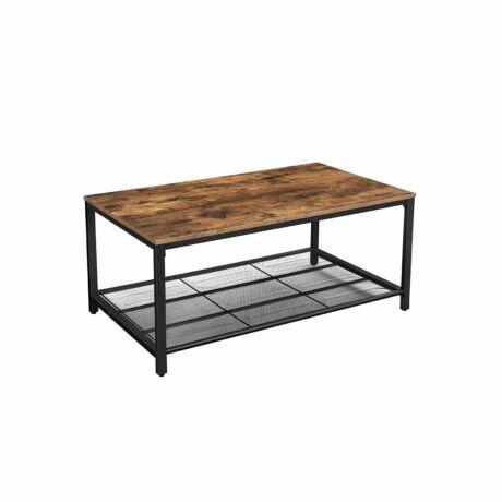 Rusztikus / Ipari stílusú dohányzóasztal rácsos polccal 106 x 60 x 45 cm