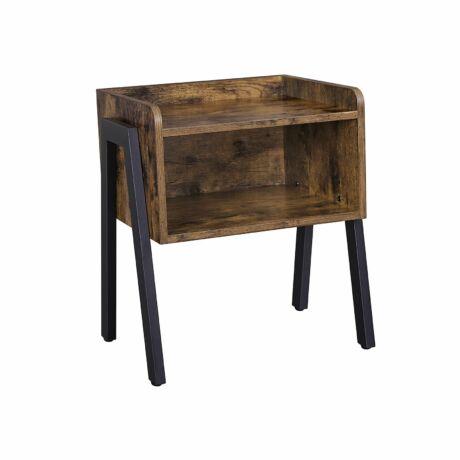 Rusztikus kis asztal / Ipari stílusú éjjeliszekrény nagy rekesszel 42 x 52 x 35 cm