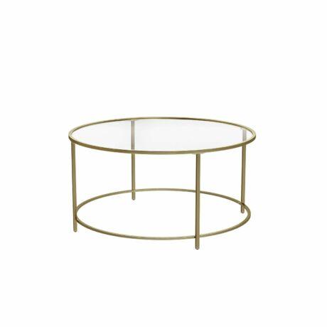 Arany üveges dohányzóasztal 84 x 84 x 45,5 cm