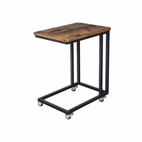 Rusztikus Ipari tervezésű asztal görgőkön 50 -61- 35 cm