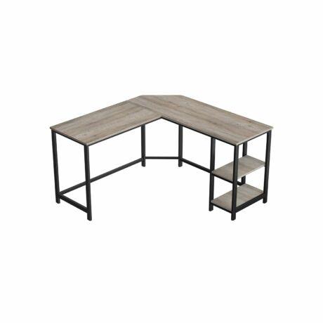 Íróasztal, egyszerű felépítésű, szürke, 138 x 138 x 75 cm (H x Sz x M)