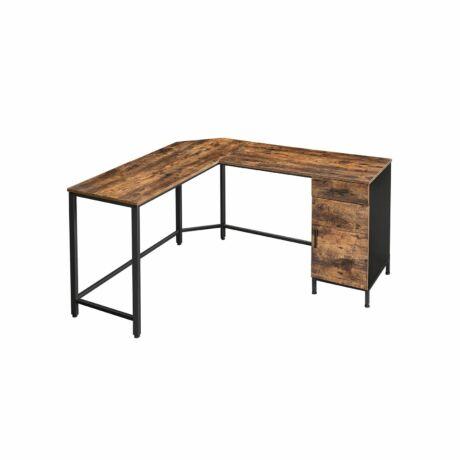 Irodai asztal szekrénnyel 137 x 150 x 75 cm, barna-fekete