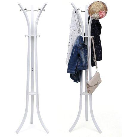 Nagy teherbírású kabátkalapos állvány 9 kampós, 176 cm, fehér