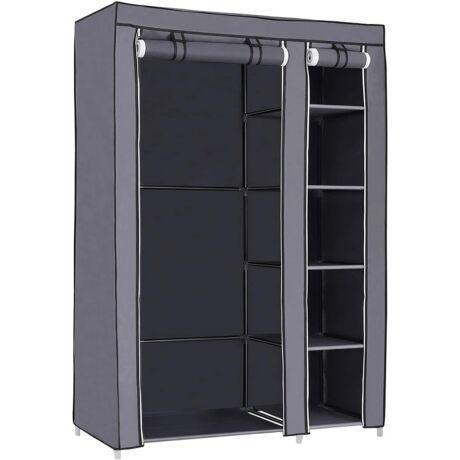XL szövet szekrény, összecsukható, kemping szekrény ruhasínnel 110 x 175 x 45 cm